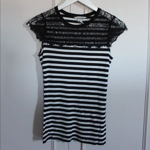Striped H&M Shirt with Lace Detail
